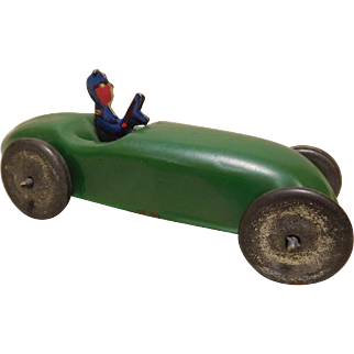 Vintage Painted Pressed Tin Boat-Tail Race Car