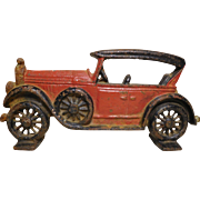 1920's Painted Cast Iron Touring Car Doorstop