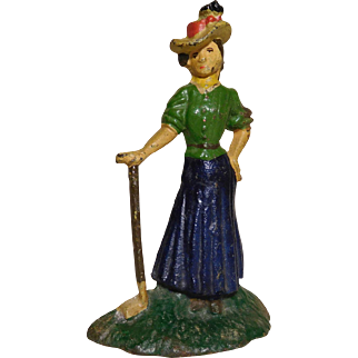 1920's Am. Painted Cast Iron Lady Golfer