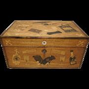 19th c. Am. Inlaid Mahogany & Decoupage Tobacco Box
