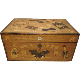 19th c. Am. Inlaid Mahogany & Decoupage Tobacco Box
