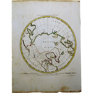 1795 Map of the North Pole & Nearby Countries.