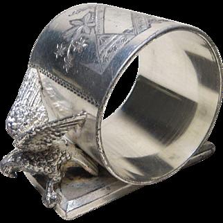 19th c. Meriden Silverplate Bird Napkin Ring