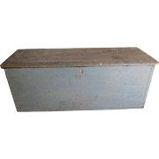 19th c. Blue Painted Sea Chest/Blanket Box