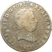 1827 Portuguese 40 Reis Copper Coin