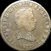 1827 Portuguese 40 Reis Copper Coin