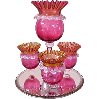Beautiful Four Bowl Cranberry Epergne With Mirrored Base