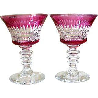 Nice Pair of Antique Cranberry Cut To Clear Wine Glasses, Circa 1900