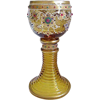 Beautiful Moser Gilt And Jewel Decorated Wine Goblet, Circa 1885