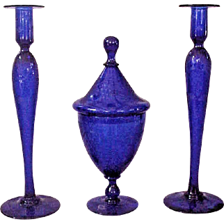 Beautiful Pairpoint Cobalt Blue Console Set, Engraved Grapes Pattern
