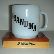Glasbake Grandma cup with sentimental poem and stand