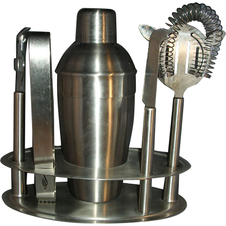 Metal shaker bar set with tools