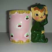 Charming Kelly green Elf leprechaun w/ calico vase planter