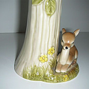 Vintage Japan ceramic deer fawn under tree vase