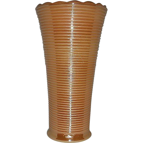 Anchor Hocking-Fire King  Peach lustre ringed vase