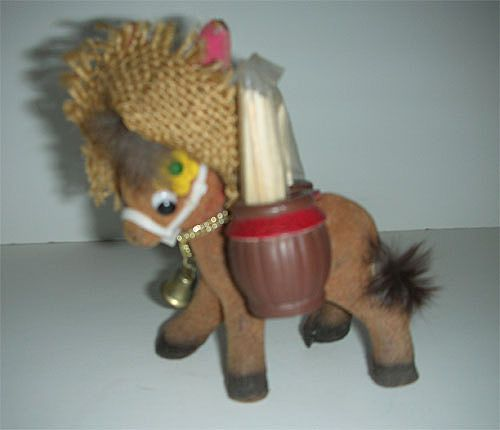 Enesco flocked donkey w/ toothpick barrels