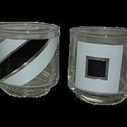 Retro geometric shape black white Vintage drink glasses