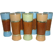 Tall Pastel  colored Siesta Ware glasses w/ wood wraps
