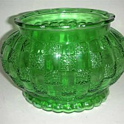 Retro  Checkered green glass Vase