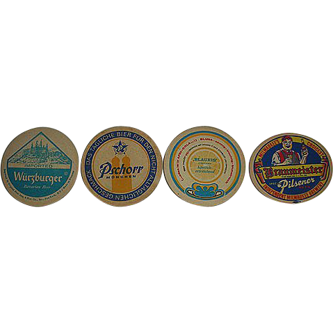Four round German beer coasters or mats