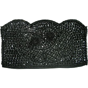 Bonsoir Black Italian beaded clutch purse