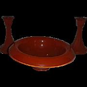 Orange Art Deco console glass bowl candlestick set