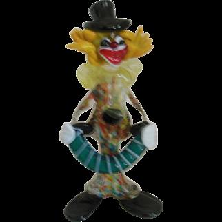 Murano Art Glass  Accordion Clown Hand Blown Figurine