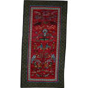 Oriental life portrayal silk embroidered cloth