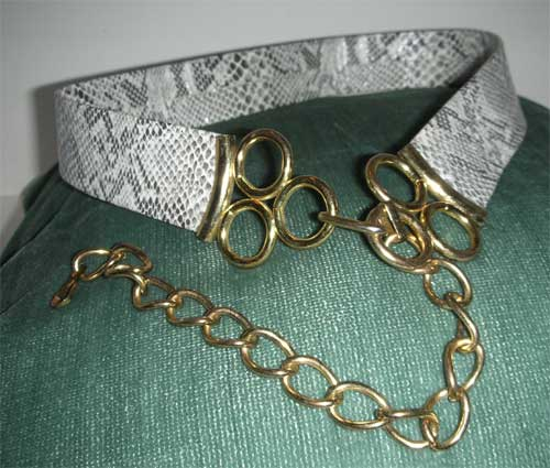 Imitation snake skin look belt
