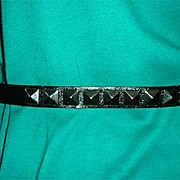 Black  leather belt w/ 3 D metal triangular ornamentation