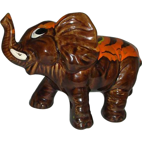 Elephant splash  orange  pottery figurine