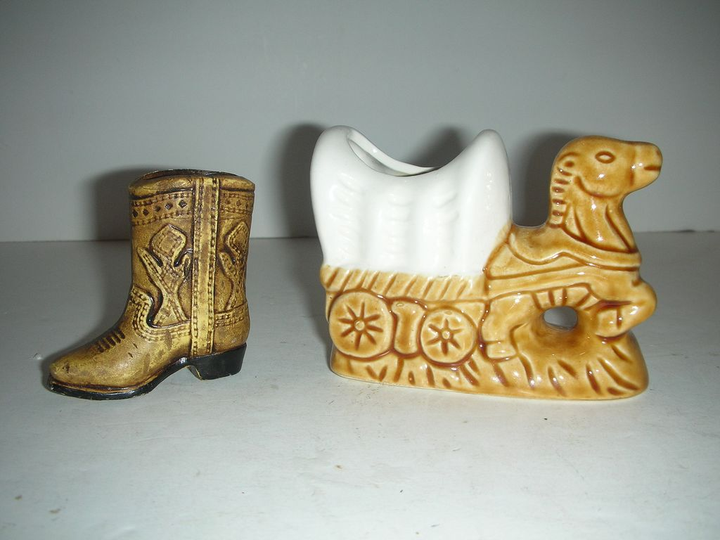 Two western toothpick or match holders-wagon & boot