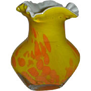 Beautiful  Cased glass yellow orange splash bubble vase