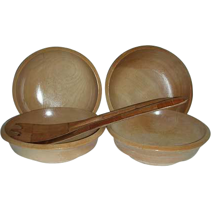 Woodpecker wood-ware salad bowls & spoon fork