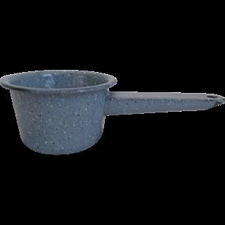 Blue speckled  enameled handled pot