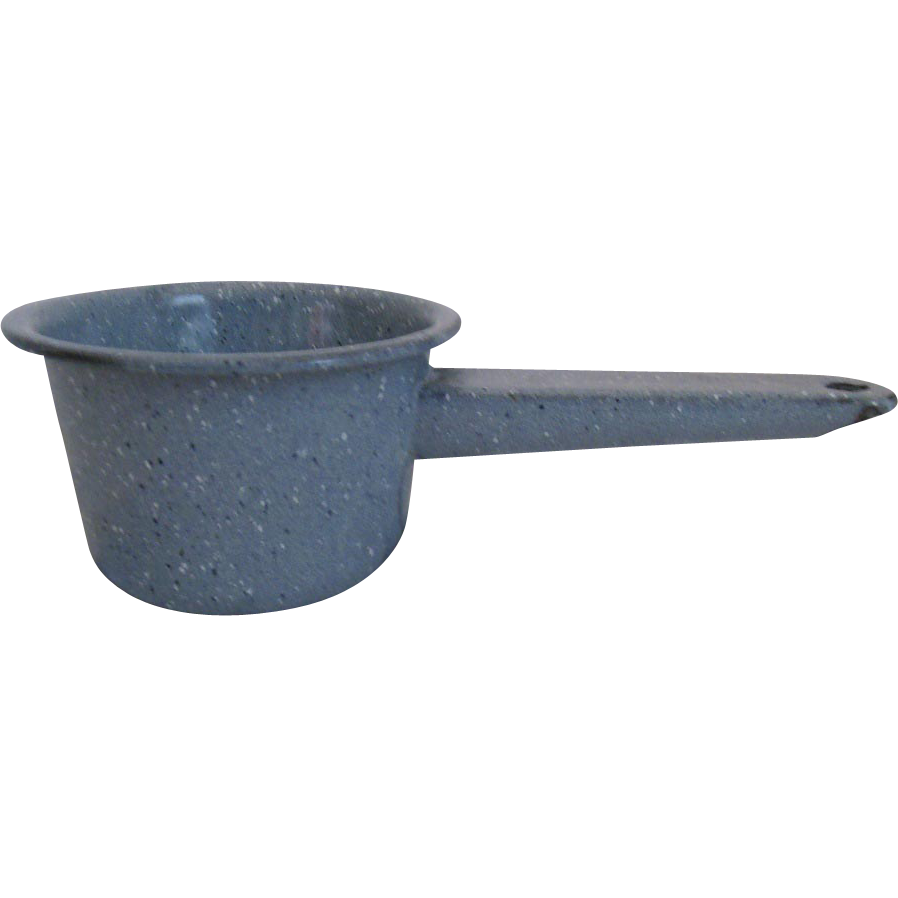 Blue speckled  enameled handled pot