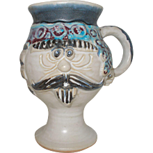 Mustache face Bob Welsh   pottery  mug
