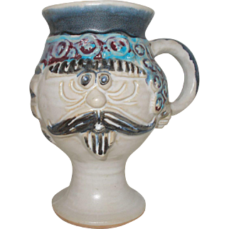 Bob Welsh   Mustache  face  pottery  mug  by  Pacific Stoneware