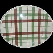 Homer Laughlin Duraprint  plaid  platter