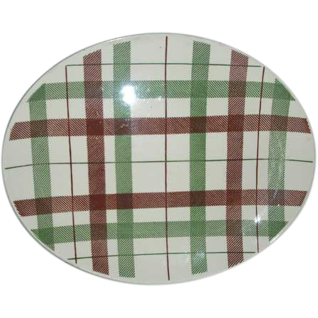 Homer Laughlin Duraprint  plaid  platter
