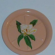 Vintage peach flowered coasters