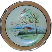 Lustre porcelain scenic  painted Japan plate