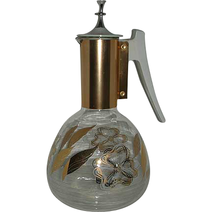 Funky gold painted glass Colony coffee pot pitcher