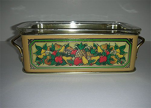 Teleflora harvest holder metal 1981w/ pyrex dish