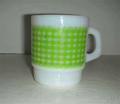 Fire King Green gingham Anchor Hocking Mug
