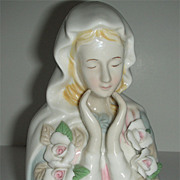 Ceramic white roses Madonna Mary w/ soft colors and gentle hands