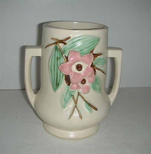 Mccoy Double Handled Blossom Time Pottery Vase Sold On Ruby Lane