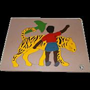 Rare Little black Sambo wood Judy Co.  puzzle