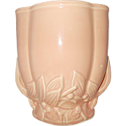 McCoy peach vase w/  leaf berry  motif