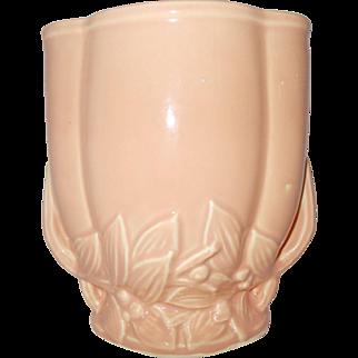 McCoy peach vase w/  leaf berry  motif